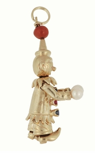 Moveable Vintage Happy Clown Pendant With Ruby, Sapphires, Coral and Pearls in 14 Karat Yellow Gold - Click to enlarge