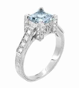 Platinum Art Deco 3/4 Carat Princess Cut Aquamarine and Diamonds Castle Engagement Ring - Item R660A - Image 1