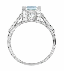 Platinum Art Deco 3/4 Carat Princess Cut Aquamarine and Diamonds Castle Engagement Ring - Item R660A - Image 4