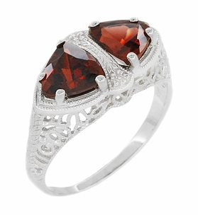 Art Deco Filigree Loving Duo Almandite Garnet Ring in 14 Karat White Gold - January Birthstone - Item R1129WG - Image 1