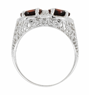 Art Deco Filigree Loving Duo Almandite Garnet Ring in 14 Karat White Gold - January Birthstone - Item R1129WG - Image 3
