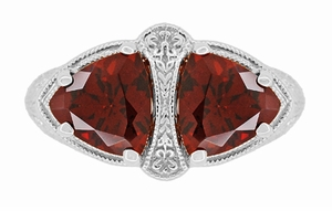 Art Deco Filigree Loving Duo Almandite Garnet Ring in 14 Karat White Gold - January Birthstone - Item R1129WG - Image 4
