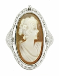 Edwardian Filigree Cameo Flip Ring with Carnelian Shell Cameo, Diamond and Black Onyx in 14 Karat White Gold