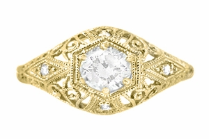 White Sapphire Scroll Dome Filigree Edwardian Engagement Ring in 14 Karat Yellow Gold - Item R139YWS - Image 1