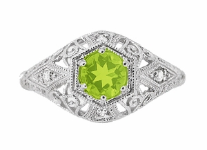 Peridot and Diamonds Filigree Scroll Dome Edwardian Engagement Ring in 14 Karat White Gold - Click to enlarge