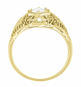 Antique Inspired White Sapphire Scroll Dome Filigree Edwardian Engagement Ring in 14K Yellow Gold - Item R139YWS - Image 3