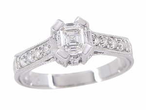 Art Deco 1/2 Carat Asscher Cut Diamond Engagement Ring in 18 Karat White Gold - Click to enlarge
