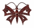 Victorian Bohemian Garnet Butterfly Brooch in Antiqued Sterling Silver