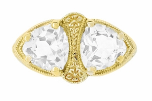 Art Deco Filigree White Topaz Loving Duo Ring in 14 Karat Yellow Gold - Item R1129YWT - Image 1