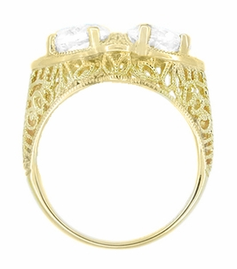 Art Deco Filigree White Topaz Loving Duo Ring in 14 Karat Yellow Gold - Item R1129YWT - Image 2