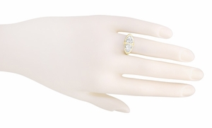 Art Deco Filigree White Topaz Loving Duo Ring in 14 Karat Yellow Gold - Item R1129YWT - Image 3