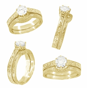 1/3 Carat Crown Filigree Scrolls Art Deco Engagement Ring Setting in 18 Karat Yellow Gold - Click to enlarge
