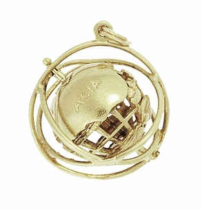 Moveable Vintage 1964 World�s Fair Unisphere Globe Pendant Charm in 14 Karat Yellow Gold - Click to enlarge