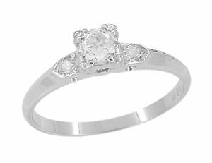 Retro Moderne Antique 14 Karat White Gold Diamond Engagement Ring - Click to enlarge