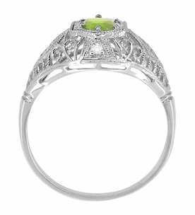 Peridot and Diamonds Filigree Scroll Dome Edwardian Engagement Ring in 14 Karat White Gold - Item R139PER - Image 2