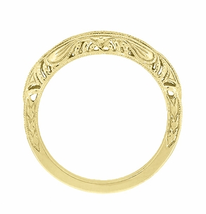 Art Deco Filigree and Wheat Engraved Curved Wedding Ring in 14 Karat Yellow Gold - Click to enlarge