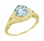 Art Deco Aquamarine Engraved Filigree Engagement Ring in 14 Karat Yellow Gold
