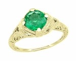 Art Deco Emerald Engraved Filigree Engagement  Ring in 14 Karat Yellow Gold