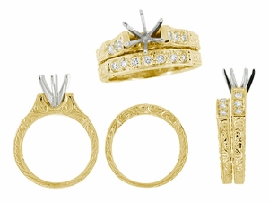 Art Deco Engraved Scrolls 3/4 Carat Diamond Engagement Ring Setting and Wedding Ring in 18 Karat Yellow Gold - Click to enlarge