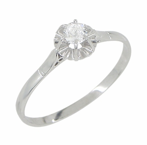 Buttercup Solitaire Filigree Antique Engagament Ring in Platinum - Item R590 - Image 1