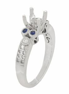 Eternal Stars 1 Carat Side Sapphires and Diamonds Engraved Fleur De Lis Engagement Ring Mounting in 14 Karat White Gold for a 6mm to 6.5mm Stone - Item R8411RS - Image 2