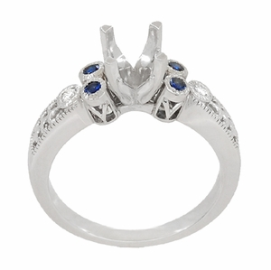 Eternal Stars 1 Carat Diamond and Sapphire Engraved Fleur De Lis Engagement Ring Mounting in 14 Karat White Gold - Item R8411RS - Image 3
