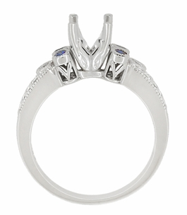 Eternal Stars 1 Carat Side Sapphires and Diamonds Engraved Fleur De Lis Engagement Ring Mounting in 14 Karat White Gold for a 6mm to 6.5mm Stone - Item R8411RS - Image 4