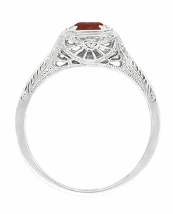Pyrope Garnet Filigree Scrolls Engraved Ring in 14 Karat White Gold - Click to enlarge