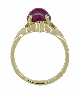 Oval Ruby Cabochon Vintage Ring in 14 Karat Gold - Click to enlarge