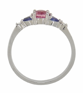 Pink and Blue Sapphire Love Ring with Diamonds in 10 Karat White Gold - Click to enlarge