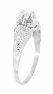 Art Deco Engraved Vintage Diamond Engagement Ring in Platinum - Item R1049 - Image 1