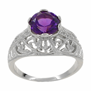 Edwardian Amethyst Filigree Ring in 14 Karat White Gold - Item R718W - Image 1