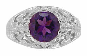 Edwardian Amethyst Filigree Ring in 14 Karat White Gold - Item R718W - Image 4