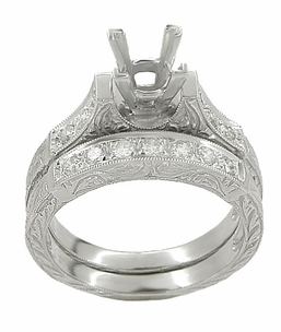 Art Deco Scrolls 1.50 Carat Princess Cut Diamond Engagement Ring Setting and Wedding Ring in 18 Karat White Gold - Click to enlarge