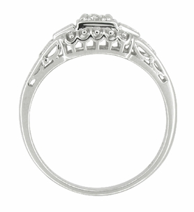 Art Deco Filigree Palladium Diamond Engagement Ring - Item R640PDM - Image 1