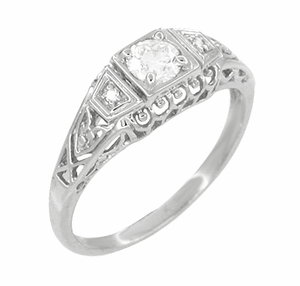 Art Deco Filigree Palladium Diamond Engagement Ring - Item R640PDM - Image 2
