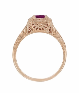 Rhodolite Garnet Filigree Scrolls Engraved Engagement Ring in 14 Karat Rose ( Pink ) Gold - Click to enlarge