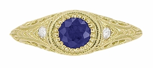 Art Deco Engraved Sapphire and Diamond Filigree Engagement Ring in 18 Karat Yellow Gold - Click to enlarge