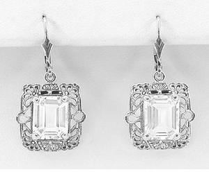Art Deco Filigree White Topaz Drop Earrings in Sterling Silver - Click to enlarge