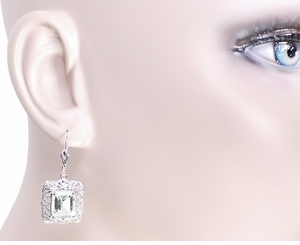 Art Deco Filigree White Topaz Drop Earrings in Sterling Silver - Item E154WT - Image 2