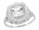 Princess Cut White Topaz Art Nouveau Ring in Sterling Silver