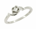 Retro Moderne Rose Diamond Engagement Ring in 14 Karat White Gold