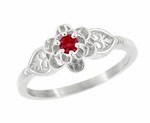 Flowers and Leaves Ruby Promise Ring in 14 Karat White Gold
