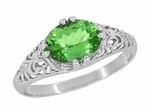 Edwardian Filigree Oval Tsavorite Garnet Engagement Ring in 14 Karat White Gold