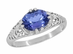 Edwardian Oval Tanzanite Filigree Ring in 14 Karat White Gold