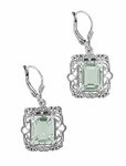 Art Deco Filigree Prasiolite ( Green Amethyst ) Drop Earrings in Sterling Silver