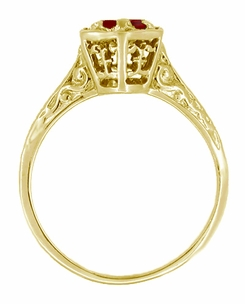 Art Deco Ruby Filigree Engagement Ring in 14 Karat Yellow Gold - July Birthstone - Click to enlarge