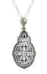 Art Deco Diamond Filigree Pendant Necklace in Sterling Silver