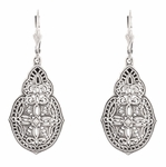 Art Deco Diamond Filigree Teardrop Dangling Earrings in Sterling Silver