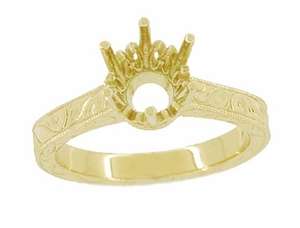 1.25 - 1.50 Carat Crown Filigree Scrolls Art Deco Engagement Ring Setting in 18 Karat Yellow Gold - Item R199Y125 - Image 2